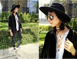 Alice A. - H&M Black Hat, Diy Lace Up White Blouse - Painting the clouds