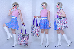 Suzi West - Mypartyshirt.Com Kurt Cobain Sunglasses, Holly Gordon's Pro Wardrobe Earrings, Tiara International Turtle Neck Tank Top, Mother's Closet Vintage Woven Leather Belt, American Apparel Skater Skirt, Patricia Field Barbie Tote Bag, Funtasma Gogo Boots - 09 August 2016