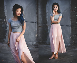 Angelina - Zara Knit Striped Crop Top, Forever 21 Pink Lazy Day Maxi Skirt, Kensie Hadin Sandals - Sliver
