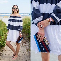 Jenn Lake - Chic Wish Navy White Stripe Off Shoulder Dress, Kate Spade Expand Your Horizons Clutch, Quay My Girl Mirrored Sunglasses, The Robes Maine Kennebunkport Bracelet, Kjp Audrey Scallop Bracelet, Havaianas Black Slim Flip Flops - Navy White Stripe Off Shoulder Dress