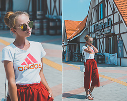 Olga Choi - Adidas T Shirt, Zerouv Mirror Sunglasses, Daniel Wellington Watches - German Village