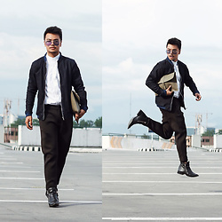 Michael Macalos - Gucci White Button Down, Zara Black Neoprene Pants, Zara Boots - On the move