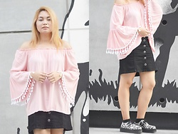 ALY - Sheinside Off The Shoulder Tassel Trimmed Bell Sleeve, Womens Punk Shoes Vintage Lace Up Flower Print Creepers Flats, Skirt (Similar) - Bell Sleeve Tassels and Rainbow Rains