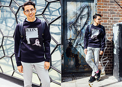 Ronan Summers - Emporio Armani Photo Print Sweatshirt, Tijn Eyewear Nikki Retro Clear Glasses - The Shallows