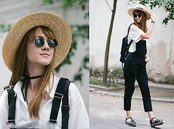 Nastia Poberezhna - Sheinside White Shirt, Sheinside Black Jumpsuit - Tom Sawyer