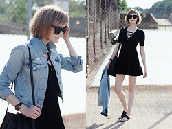 E Maille - Quay Sunglasses, H&M Lace Up Dress, Levi's® Jean Jacket, Modcloth Pins, Mansur Gavriel Bag, Atp Atelier Sandals - X