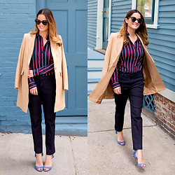Jenn Lake - Banana Republic Womens Camel Topcoat, Banana Republic Dillon Fit Striped Shirt, Banana Republic Avery Fit Denim Pants, Banana Republic Jackie Ruffle Heel, Urban Outfitters Tortoise Sunglasses, Kate Spade Stud Earrings - Women's Camel Topcoat