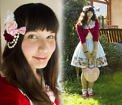 Yuki Ichigo - Porcelain Doll Fruit Marmalade Skirt, Off Brand Red Cardigan, Amavel Delicieux Chocolat Blouse, Angelic Pretty Red Teaparties, Angelic Pretty Heart Bag - Fruit Marmalade