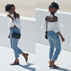 Nkenge Brown - Zara Off Shoulder Top, Forever 21 Sandals, Thrifted Jeans, Urban Outfitters Bag - Off-Shoulder Goodness