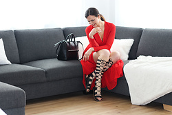 Katharina Robaczek -  - Long Tall Sally High Roman Sandals with red Dress