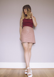 Little L - New Look Leather Skirt, Topshop Cropped Vest - Burgundy & blush.