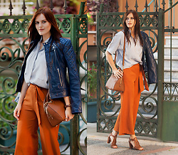 Viktoriya Sener - Leather Skin Jacket, Chic Wish Shirt, Trousers, Michael Kors Bag, Desa Sandals - READY FOR FALL