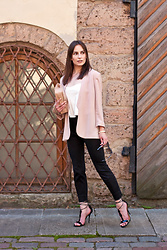 Anna Puzova - H&M Blazer, Cndirect Top, H&M Pants, New Look Bag, Kazar Heels, Jimmy Choo Shades, Whistle + Bango Bangle - Kazar + Jimmy Choo