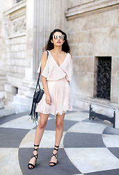 Anoushka P - Free People Peach Embroidered Dress, Just Fab Lace Up Sandals - Free People Summer