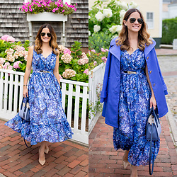 Jenn Lake - Kate Spade Hortensia Loni Blue Floral Midi Dress, Kate Spade Blue Marcheline Coat, Kate Spade Cameron Street Mini Candace Satchel, Manolo Blahnik Nude Patent Bb Pumps, Ray Ban Aviator Sunglasses - Blue Floral Midi Dress with Coat