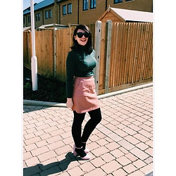 Maria Nichol - New Look Green Roll Neck, New Look Leather Skirt, New Look Pink Heels, Pac Sun Sunglasses - Moss Green and Bubblegum Pink