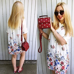 Matylda - Second Hand Floral Dress, Zara Red Bag, Stradivarius Sunglasses, New Look Shoes - I'm in love with my new bag