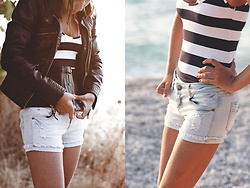 Lea P - Faux Leather Jacket, Denim Shorts, Striped Top - Sunset ride