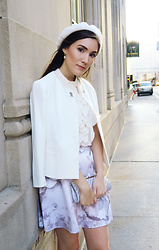 Carolina Pinglo - Zara White Coat, H&M Ruffle Blouse, Club Monaco Skirt - Toronto mens fashion week outift