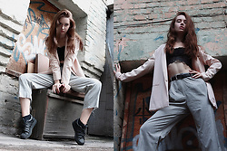Nastya Titarenko - Pull & Bear Nude Boyfriend Blazer, Asos Boyfriend High Waist Trousers, Stradivarius Lace Top, Adidas Black Superstar - Follow your style