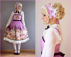 Saija Sasetar - Gothic Lolita Wigs Duchess Elodie Wig, Soufflesong Kitty Courtyard Rectangle Headdress, Lindex Chiffon Blouse, Soufflesong Kitty Courtyard Purple Normal Waist Jsk, Spirit Black High Heel Platform Pumps - Cats & Elegance