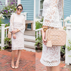 Jenn Lake - Shop Lombard And Fifth White Bell Sleeve Lace Dress, Chanel Filigree Vanity Case Bag, Manolo Blahnik Nude Patent Bb Pump, Quay High Key Sunglasses, Giles And Brother Large Cortina Cuff - White Bell Sleeve Lace Dress