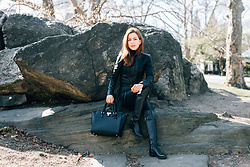 Beauty Mark Lady - Bcbg Jacket, Angela Roi Bag, Michael Kors Boots - ALL BLACK and leather