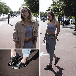 Annette Zer - Pull & Bear Crop Top, Pull & Bear Belt, Schuhtempel24 Metallic Loafers, Pull & Bear Baggy Denim Jeans, Pull & Bear Linen Trench Coat, Ray Ban Nerd Glasses - In my dreams, i see you