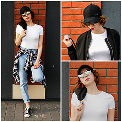 Adrianna - Reebok Cap, New Look T Shirt, Stradivarius Bomber Jacket, Christian Dior Sunnies, H&M Shirt, Levi's® Pants, Converse Shoes - Streetwear