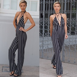 Katya Shay - Missguided Jumpsuit, Tee&Ing Necklace - Stripes in the House