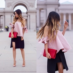 Sasa Zoe - On Sale For $53 Top, Skirt, Bag, Heels - CUTEST BOW KNOT