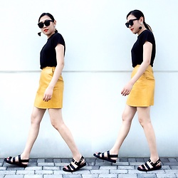 Carrie Tong - Uniqlo Black Tee, Zara Leather Skirt, Topshop Sandals, Happiness Boutique Statement Earrings - Black and Yellow