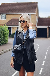 Charlotte Buttrick Lewis - All Saints Leather Biker Gilet, Whistles Asymetric Skirt, Saint Laurent Ysl Monogramme Bag - All for Leather