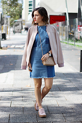Emily S - Asha Blush Bomber, Cotton On Denim Shift Dress, Blush Pink Creepers - Denim Dress