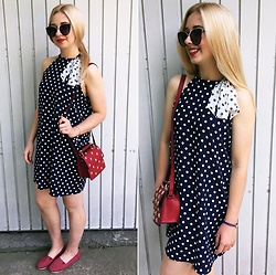 Matylda - Stradivarius Sunglasses, Zara Dress, New Look Shoes, Zara Bag - Did I mention that I love dots?