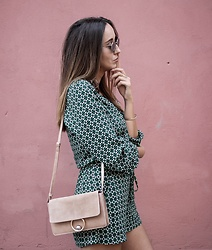 Guess What - H&M Jumpsuit, Mango Bag, Ray Ban Sunglasses - GREEN GREEN PRINT