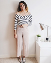 Georgie J - Topshop Crop, Topshop Pleated Trousers, Asos Loafers - Stripes & Pleats
