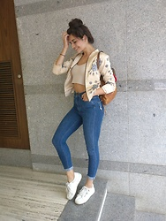 Annabel DaSilva - 335th Peach Bomber, Mark N Spencer's High Waisted Skinny, Bershka White Sneakers, Forever 21 Crop Top - Out and about