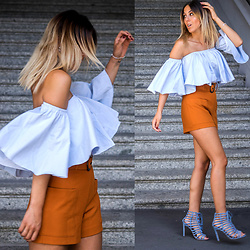 Alison Liaudat - Necessary Clothing Off Shoulder Top, Zara High Waisted Short, Steve Madden Baby Blue Laced Heels - Girl's best friend