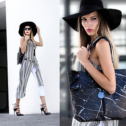 Dora D. - Black Oversize Cat Eye Sunglasses, Black And White Striped Sleeveless Shirt Dress, White Skinny Jeans, Marble Print Tote Bag, Black Lace Up Heels - Silence and noise, lines and marble