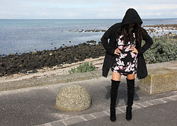 Lisa O - Rvca Floral Dress, Witchery Boots, Milk & Honey Anorak - About Time