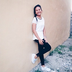 Ana Esguerra - H&M Black Skinny, Forever 21 White Silky - Black and white