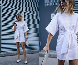 Jillian Lansky - Asos White Tie Front Shift Dress, Zara White Leather Mules - All white