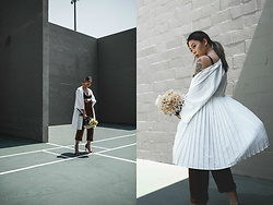 Mariel Cornel - Third Form Pleated Kimono, Simple Retro High Waisted Pants, Zara Strappy Heels - Summer's End