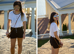 Dana Nguyen - Buffalo Exchange Sunglasses, Forever 21 Necklace, Very J T Shirt, Ci Sono Shorts - Back to Basics