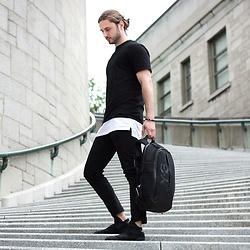 Alessandro Commodari - Y 3 Backpack, Y 3 Qasa High, Zara Black Pants, Topman Longline Tee, City Approval Hanzo Tee, Vitaly Design Black And Silver Bracelet - Urban Vagabond