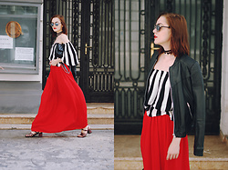 Andreea Birsan - Mirrored Sunglasses, Chocker, Striped Off Shoulder Top, Leather Jacket, Black Crossbody Bag, Red Maxi Skirt, Strappy Sandals - Leather jacket & red maxi skirt