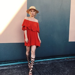 Jessica Luxe - Straw Hat, Mlm Label Strapless Dress, Express Gladiator Sandals - Strapless