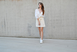 Sofie Rome - Zara White Top, Pimkie High Waist Skirt, Puma White Sneakers Trinomics - Cream & Puma Trinomics