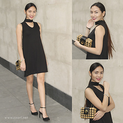 Czari Denise - Zalora Black Choker Dress, Stradivarius Black Pointed Heels With Strap, Aranáz Rattan Woven Bag In Black And Beige - Classy With Aranaz Bag